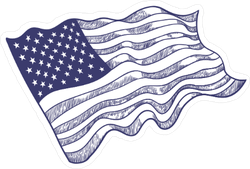 Blue Ink USA Flag Sketch Sticker