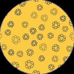Blue Line Recycle Symbol Icon Pattern Sticker