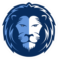 Blue Lion Head Mascot Sticker