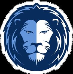 Blue Lion Head Mascot Sticker