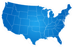 Blue Map Of USA Sticker