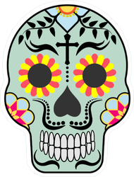 Blue Mexican Sugar Skull with Mustache Sticker