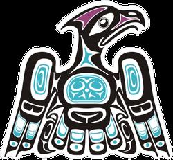 Blue Native American Style Eagle Sticker