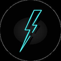 Blue Neon Lightning Bolt Sticker