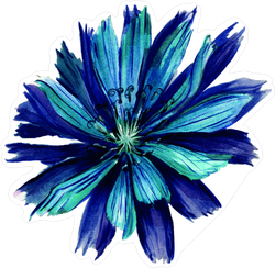 Blue Painted Flower Sticker