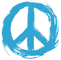 Blue Painted Peace Sign Sticker