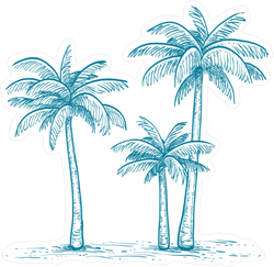 Blue Palm Tree Group Illustration Sticker