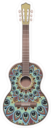 Blue Peacock Decorated Guitar Sticker