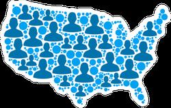 Blue Population USA Map Sticker