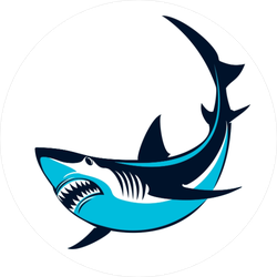 Blue Shark Circle Sticker