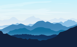 Blue Silhouettes Of Mountains Sticker