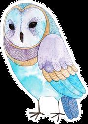 Blue Watercolor Barn Owl Sticker