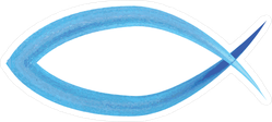 Blue Watercolor Christian Ichthus Fish Sticker
