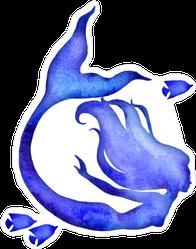 Blue Watercolor Silhouette Sticker