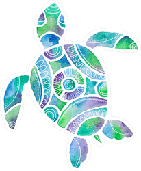 Blue Watercolor Turtle Sticker