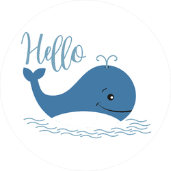 Blue Whale Saying Hello Sticker