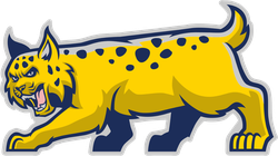 Blue/Yellow Bobcat Mascot