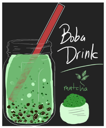 Boba Drink Matcha Flavor Sticker
