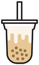Boba Milk Tea Or Bubble Milk Tea Icon Sticker