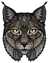 Bobcat Lynx Mascot Isolated Head Sticker