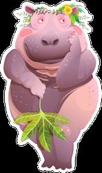 Body Positive Naked Shy Hippopotamus Sticker