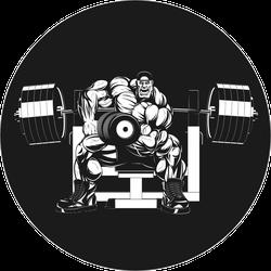 Bodybuilder Doing Exercise With Dumbbells Sticker