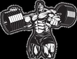 Bodybuilder Pointing Sticker