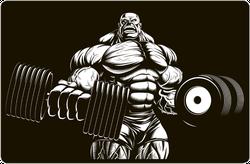 Bodybuilder With Huge Dumbbells Sticker