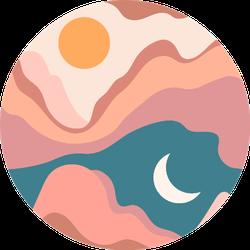 Bohemian Landscape Painting Sticker