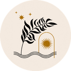 Bohemian Style Objects Star and Leaves Sticker