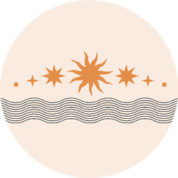 Bohemian Sun and Line Design Sticker