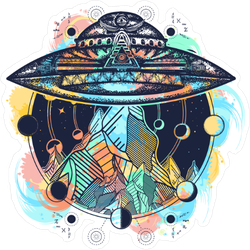 Boho Alien UFO Sticker