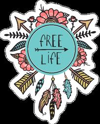 Boho And Hippie Style Free Life Sticker