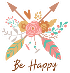 "Boho Chic Arrows ""Be Happy"" Sticker"