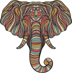 Boho Elephant Head Sticker