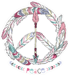 Boho Feather and Arrow Hippie Peace Sign Sticker