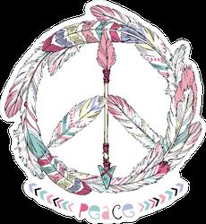 Boho Feather and Arrow Hippie Peace Sign Sticker