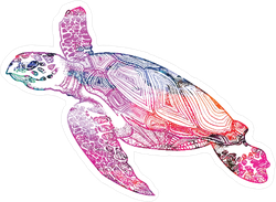 Boho Swimming Turtle Sticker