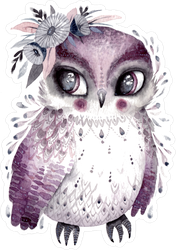 Boho Watercolor Owl With Flowers Sticker