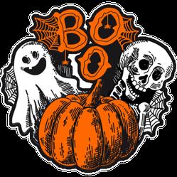 Boo Sketch Ghosts and Pumpkin Sticker
