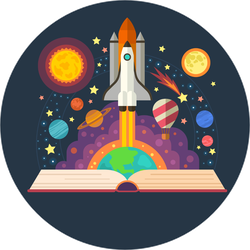 Book With Space Elements Sticker