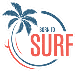 Born To Surf Palm Sticker