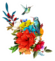 Bouquet Of Flowers With Roses, Poppy Flowers And Hummingbirds Sticker