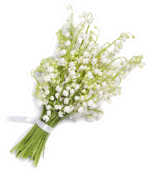 Bouquet Of Lilies Of The Valley Isolated On White Sticker