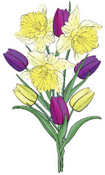 Bouquet Of Yellow Daffodils And Colorful Tulips Sticker