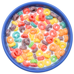 Bowl Of Colorful Children's Cereal And Milk Sticker