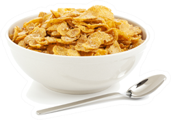 Bowl Of Sugar-coated Corn Flakes And Spoon Sticker