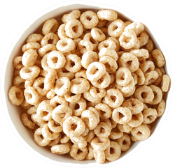 Bowl Of Whole Grain Cereal Rings Top View Sticker