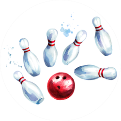 Bowling Ball And Pins Set Watercolor Sticker