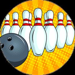 Bowling Ball Pop Art Style Sticker
